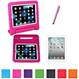 HDE iPad Mini Kids Shockproof Case Bundle Child Proof Safe Protection Cover Handle Stand for Apple iPad Mini 1 / 2 / 3 / Retina with Screen Protector + Matching Stylus (Pink)