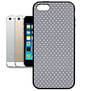 Bumper Phone Case For Apple iPhone 5/5S - Mini Hearts on Grey Rubber Soft Edge