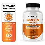 Green Coffee Bean Extract 500 mg Veg Capsules 50% Chlorogenic Acid antioxidant Cleanse for Weight Loss | Healthy Fat Burner | Amalth