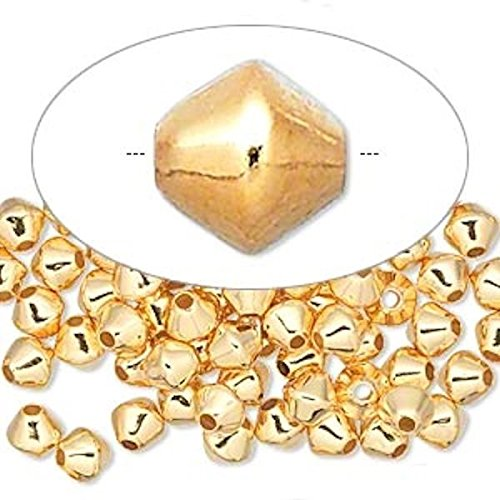 100 Gold Plated Brass Smooth Double Cone Beads for Jewelry Making, Supply for DIY Beading Projects ~ 6x6mm