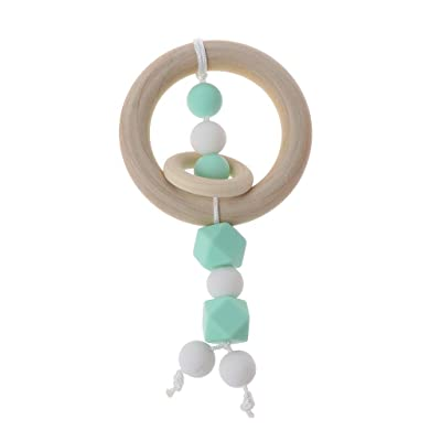 Ladaidra Baby Toys Teething Wooden Ring Can Chew Silicone Beads Baby Rattles Play Gym Montessori Stroller Toys: Toys & Games