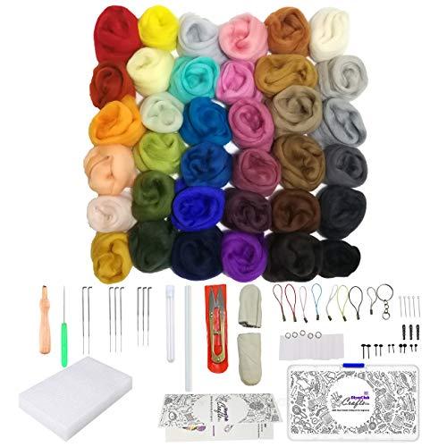 Needle Felting Kit - Felting Wool Roving 36 Color Tools Set - Felting Needles Kits Beginners - Starter Needle Felting Craft Supplies for Adults - Needle Felt Animal Kits by DiyerClub Crafts