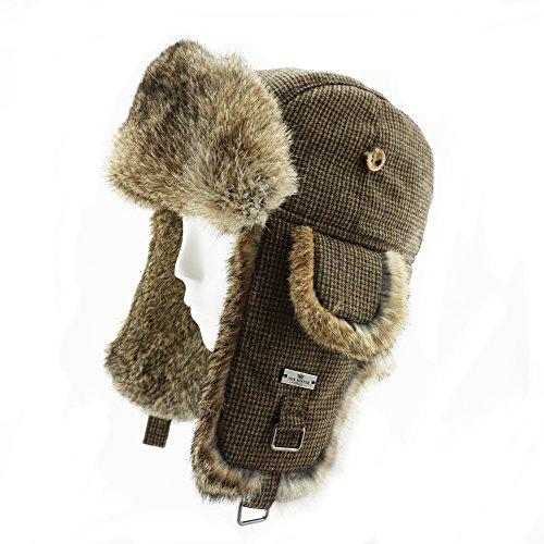 Rabbit Fur Aviator Trapper (FUR WINTER Wool Blend Swallow Gird Rabbit Fur Aviator Ski Trapper Trooper Hat BRN S/M)