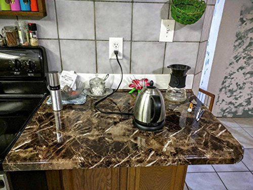 Marble Look Film Brown High Glossy Granite Effect Vinyl Self Adhesive Peel-Stick Brown Counter Top (2' X 6.56 ft) by Very Berry Sticker (Image #8)