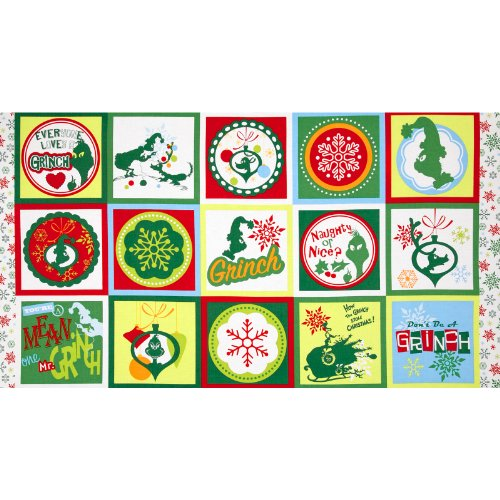 How The Grinch Stole Christmas 3 Block Panel Green Fabric