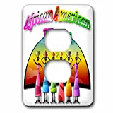 Spiritual Awakenings Ethnic - African American women and colorful African colored background - Light Switch Covers - 2 plug outlet cover (lsp_245356_6)