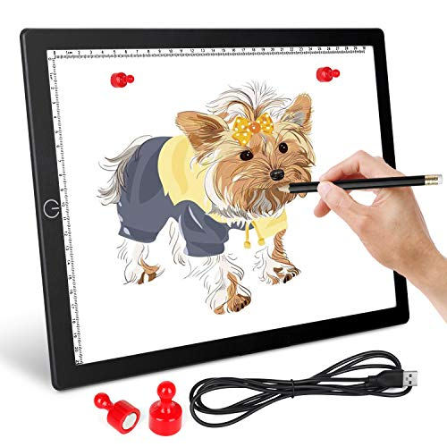 A4 LED Light Box Tracing Light Pad - Ultra-Thin Magnetic LED Tracing Light Pad with USB Powered for Artists Drawing DIY Diamond Painting Sketching Tattoo Animation Designing