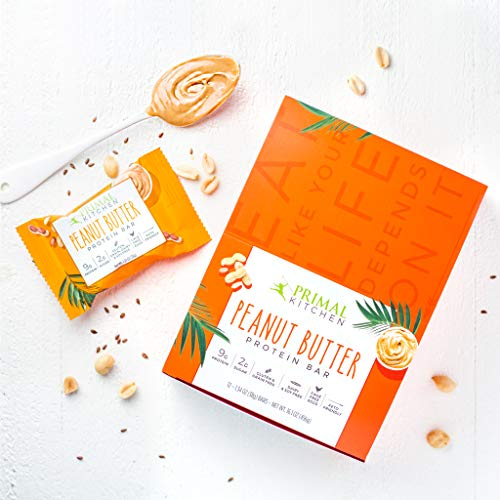 Primal Kitchen Peanut Butter Protein Bars (12 pack) - Contains 9 Grams of Protein & Made with Cage Free Eggs, Coconut Oil, Nuts, & Flaxseed