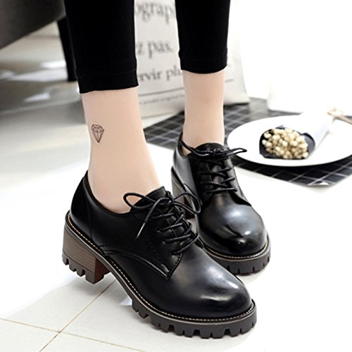 Lace Janes Heel Shoes Retro Leather Black Block Ankle Women's Mary CHNHIRA Up vz6t0x