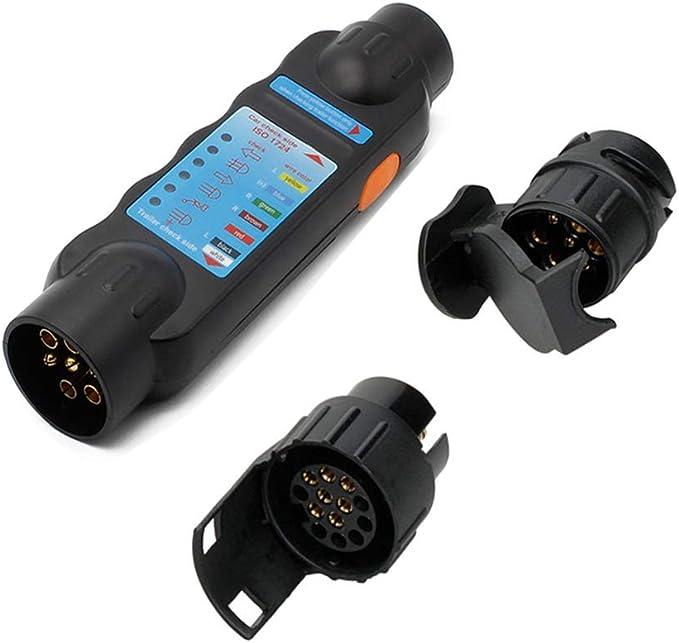 Wilktop Anhängerbeleuchtung Testgerät Wohnwagen Anhänger Prüfgerät 12v Trailer Tester Für 7 Und 13 Polige Stecker Und Steckdosenanschluss Auto