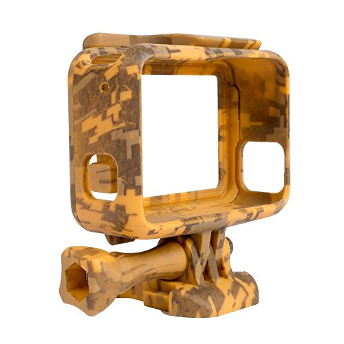 Williamcr Camouflage Standard Protective Dive Housing Hard Cover + Stand for GoPro 5 6 7 Black Outside Sport Camera Case (Camouflage Yellow)