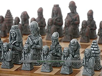Berkeley Egyptian Chess Set (Steel and Copper finish, no board)