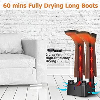 Air Choice Boot Dryer - Electric 4 Shoe Dryer with 0-180 Min Timer, Quick Drying, Space Saving & Super Quiet, Boot Warmer Dryer for Shoes, Boots, Glove, Ski, Socks