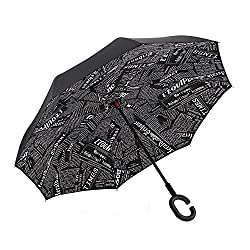 Ylovetoys Double Layer Folding UV Proof and Windproof Inverted Umbrella with C-shaped Hand for Car Outdoor (Black Newspaper)