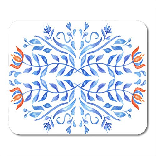 "Aikul Mousepad Orange Folk Blue Delft Tulip Flower Floral Mouse Mat 9.5"" x7.9"" Mouse Pad Suitable for Notebook Desktop Computers Office Accessories"
