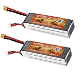 Floureon 2 Packs 14.8V 5500mAh 35C 4S Lipo High Power Battery RC Battey Pack with XT60 Connector for RC Airplane, RC Helicopter, RC Car/Truck, RC Boat (6.30 x 1.81 x 1.38 Inch)
