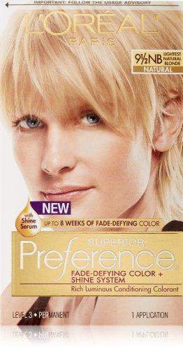 Hydrator Natural Hair - L'Oréal Paris Superior Preference Fade-Defying + Shine Permanent Hair Color, 9.5NB Lightest Natural Blonde, 1 kit Hair Dye