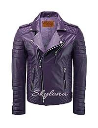 Skylona Mens Leather Jackets Motorcycle Bomber Biker Real Leather Jacket Purple
