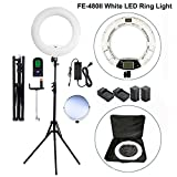 Yidoblo 96W 18'' LED Ring Light Kit FE-480II White Photo Video Portrait Selfie Makeup Youtube Lighting Bicolor with Remote, Phone/Camera Holder, Mirror, Light Stand, Batteries&Chargers, Carry Bag