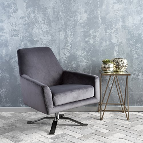 Aegis Light Grey New Velvet Swivel Club Chair