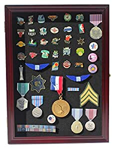 Collector Pin and Medal Display Case Holder Cabinet Shadow box PC01 (Cherry Finish)