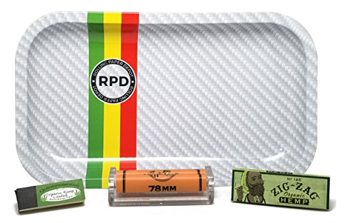 Zig Zag Organic Hemp 1 1/4, 78mm Roller and Quintessential Organic Hemp Tips with Rolling Paper Depot Rolling Tray (frost Racer) - 4 Item Bundle by Zig Zag, Rolling Paper Depot
