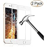 iPhone 8 7 Screen Protector, Eglass Full Coverage Tempered Glass Screen Protector Film Edge to Edge Protection for Apple iPhone 7, iPhone 8, 4.7 Inch (2-Pack for iPhone 8 / 7 / White)