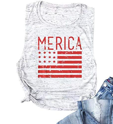 MAXIMGR Merica USA Flag Print Tank Top Women American Flag Sleeveless Tanks Tee Patriotic Shirt Vest Size XL (Light Grey)