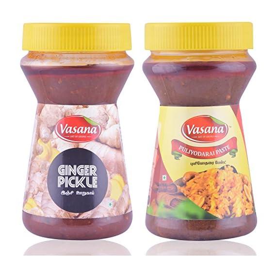 Vasana Ginger Pickle and Puliyodarai Paste, 300 grams (Combo of 2)