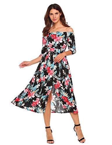 7f4ba493276706 Meaneor Damen Trägerlose Kleider Blumen 3 4 Ärmel Split Maxikleider  Strandkleider mit Gürtel Sommer Herbst