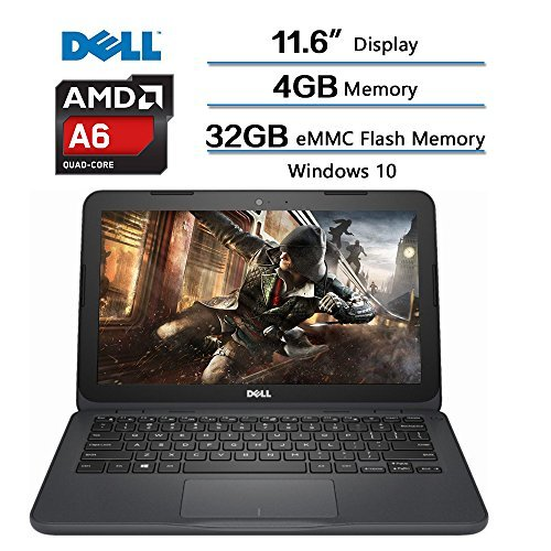 "Dell Inspiron 11.6 inch Laptop, AMD A6-9220e processor 2.5GHz, 11.6"" HD (1366 x 768) Display, 4GB DDR4 SDRAM, 32GB eMMC Flash Memory, Win 10 w/1-year Microsoft Office 365 Personal"