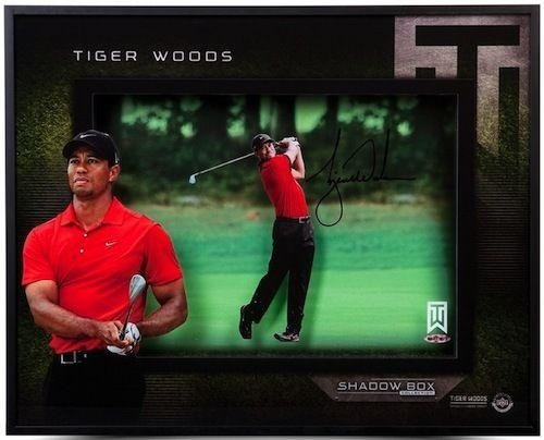 TIGER WOODS Signed Approach 16 x 20 Shadow Box - Upper Deck Certified - Autographed Golf (Golf Memorabilia Shadow Box)