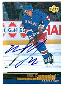 Autograph Warehouse 68193 Mike York Autographed Hockey Card New York Rangers 2000 Upper Deck No. 262