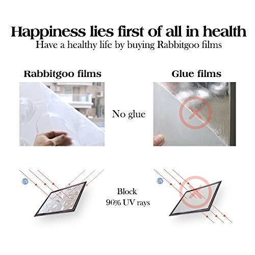 RABBITGOO Privacy Window Film Frosted Window Film Static Cling Glass Film Non Adhesive Window Film