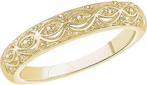 14K Yellow Gold Beaded Ring