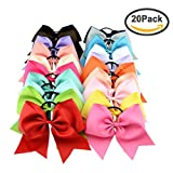 "Jaciya 20 Pack 8"" Women Girl Large Cheer Hair Bows Ponytail Holder Elastic Hair Ties Cheerleading Pony Tail Holder Elastic Head Loop For Women Girls Uniform Accessories"