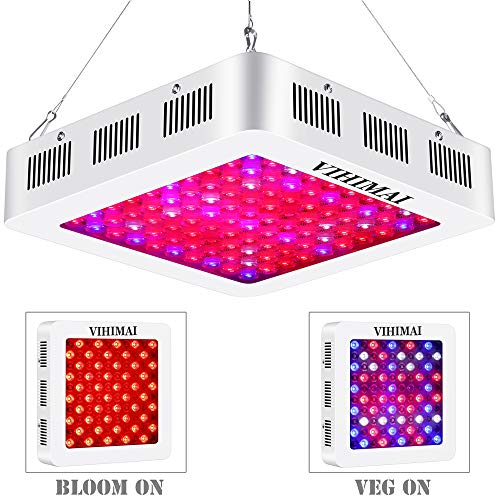 VIHIMAI 1500W LED Grow Light Full Spectrum, 3 Chips 4 Fans Daisy Chain Optical Lens-Series Growing Lamp UV&IR Indoor Plant HYD 2 Switches Control Veg Flower (1500W)