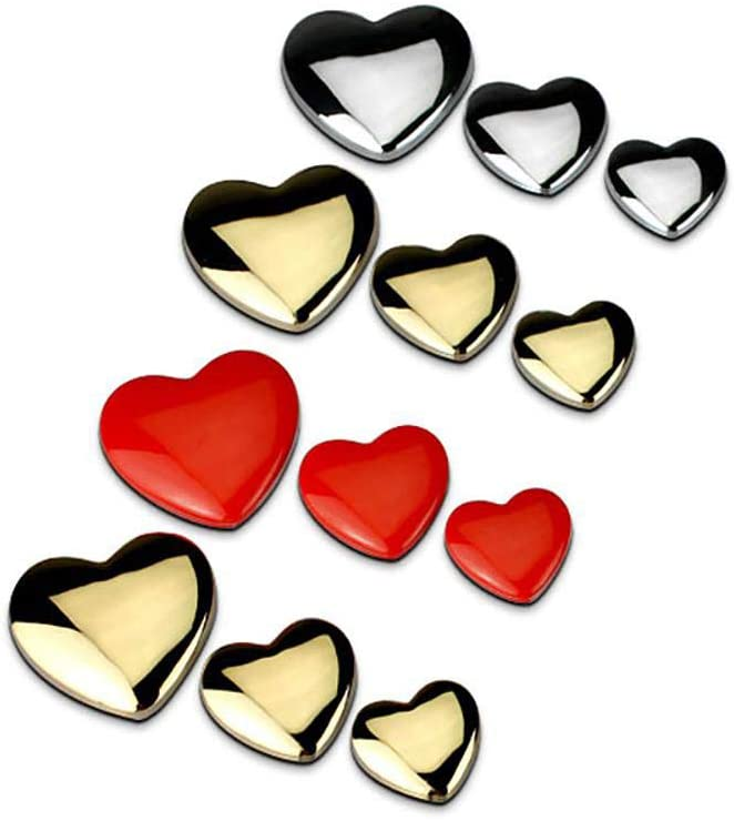 DIY Heart Shaped Love 100/% 3D Metal Red Gold Silver Ho Car Auto Motorcycle Emblem Badge Sticker Logo Car Styling Large Golden