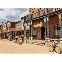 Leowefowa 9X6FT West Cowboy Backdrop Saloon Backdrops for Photography Rustic European Wood Archiculture Blue SKy White Cloud Ancient Western Historic Travel Photo Background Adults Studio Props