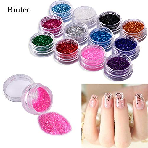 Kamas 12 Color Nail Acrylic Glitter Powder Decor Nail Art Powder Sparkly Dust Acrylic UV Powder Dust gem Polish Nail