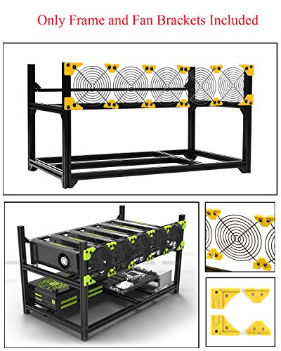 6 GPU Miner Case Aluminum Stackable Mining Rig Case Open Air Frame Unassembled Miner Kit For ETH/ETC/ZCash Ethereum,Bitcoin,and Altcoins (Classic,Only Frame and Fan Brackets Included) - Aluminum Stackable
