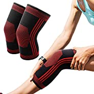 PACEARTH Knee Support Brace - Knee Compression Sleeve for Running, Weightlifting, Baseball, Crossfit, Workouts