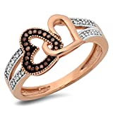 0.15 Carat (ctw) 10K Rose Gold Round Champagne And White Diamond Ladies Split Shank Heart Promise Ring