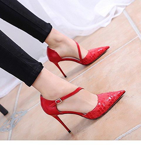 scarpe con punta ardiglione Sexy 39 basse RBB scarpe fibbia a e alti estive basse ad tacchi con rosso i wvwzUtPq