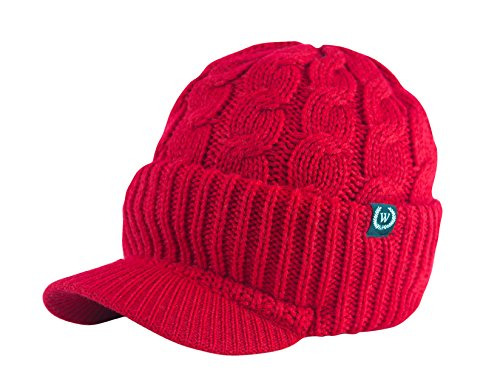 Newsboy Cable Knitted Hat with Visor Bill Winter Warm Hat for Women in Black, Charcoal, Dark Brown, Hot Pink, Red, White (Red)