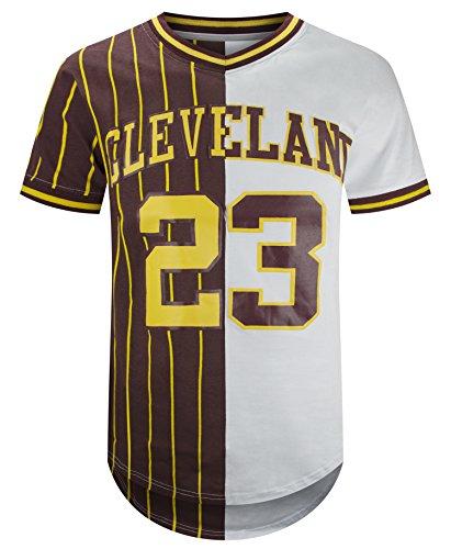 ALMAS APPAREL Mens Hipster Hip Hop Printed Sport Team Crewneck Graphic Jersey (Medium, Cleveland) for $<!--$29.99-->