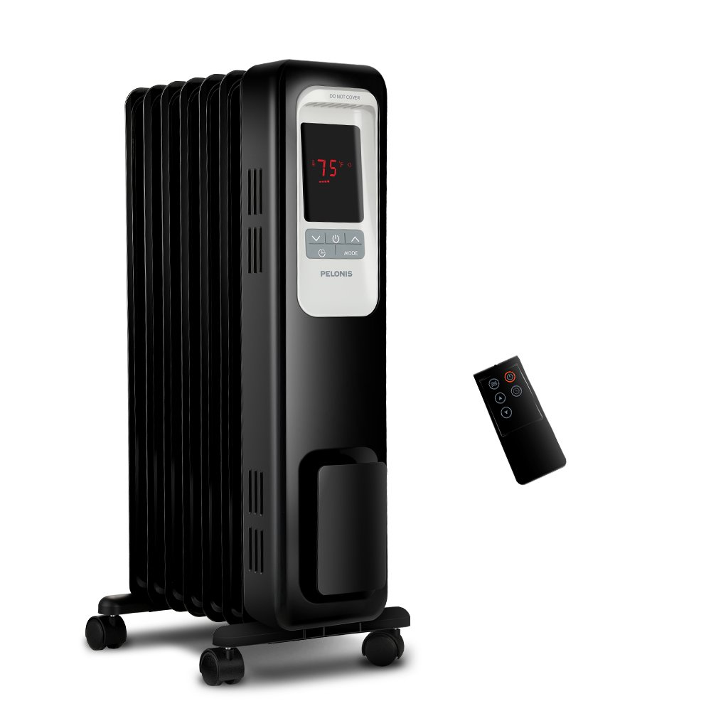 PELONIS Electric Radiator Heater, 1500W Portable Oil Filled Radiator Space Heater with Digital Thermostat, 24-Hour programmable Timer, Remote Control, Safe Heater for Full Room