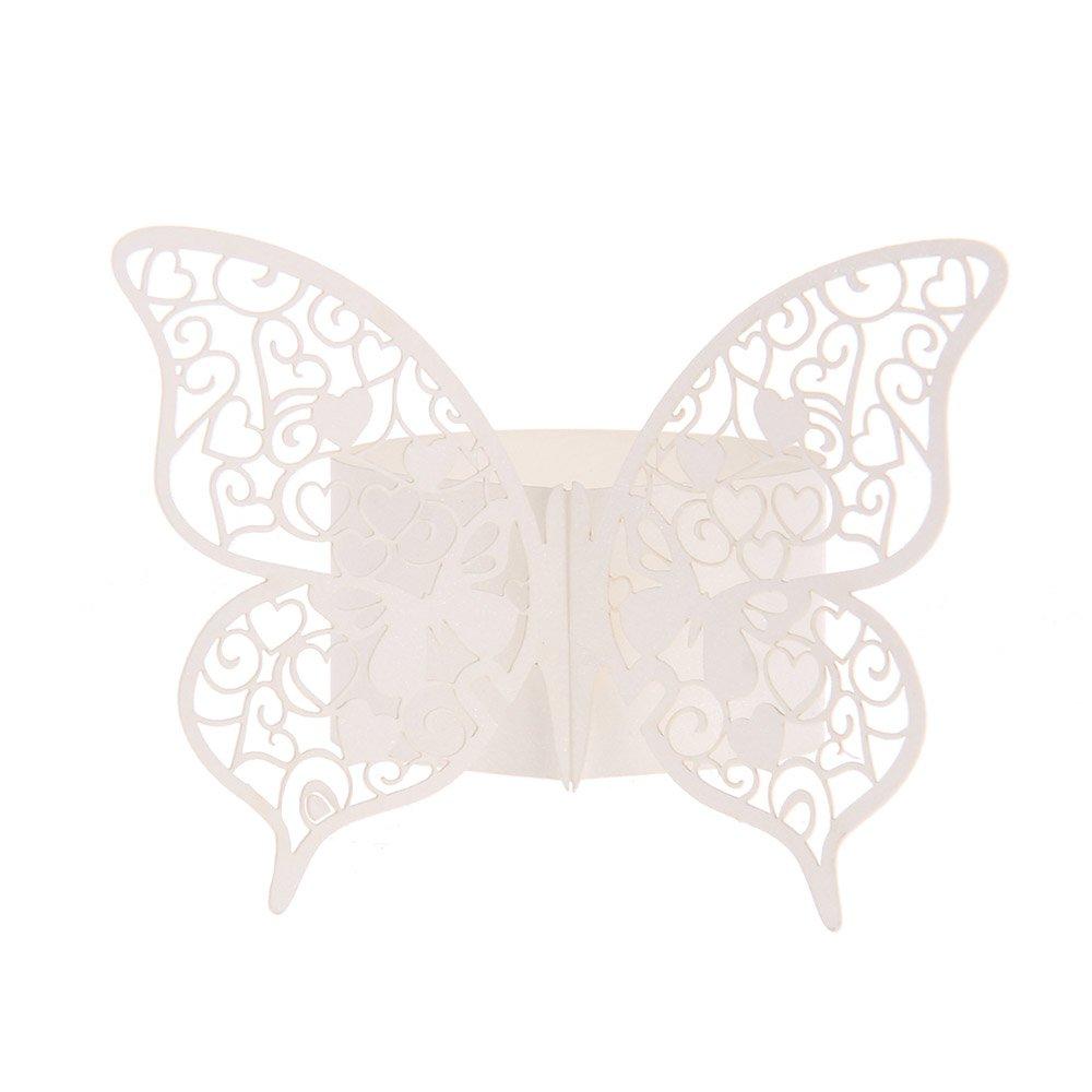 FACILLA/® 50x Serviettenringe Schmetterlingringe f/ür Servietten Papierservietten Deko Wei/ß