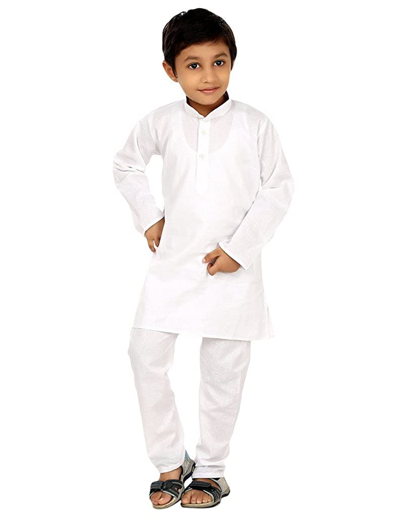 FOCIL Boy's Solid Kurta Pyjama For Kids Royal WHITE-KP-18NO-$P