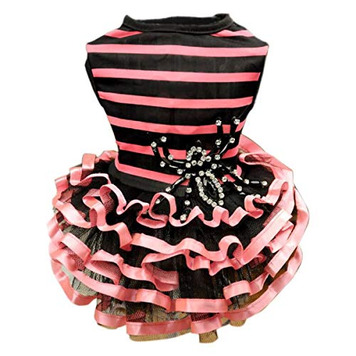 Thick glass Cute Bee Dog Harness Dress Pet Clothes Stripe Vest Shirts Spider Adorned Teddy Dogs Sundress